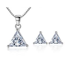 925 Sterling Silver Trigonal Zircon Stud Earrings Necklace Set Women Jewellery