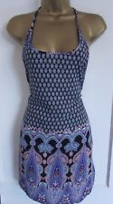 HEARTS & BOWS LADIES BLUE WHITE PINK ORANGE FLORAL SLEEVELESS LONG TOP SIZE 8