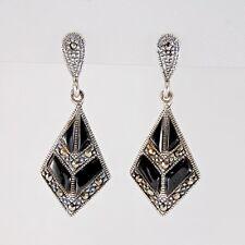 Earrings Marcasite Vintage Retro Style Sterling Silver 925 Black Drop Dangle