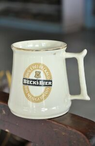 Vintage Beck's Key Trademark Hitkraft Unique Shape Ceramic Cup , Germany
