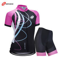 Womens MTB Cycling Bike Short Sleeve Jersey Shorts Suit Bicycle Sports Clothing
