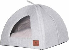 Miss Meow Cat Dog Tent Triangle Pet Bed Removable Cushion Cover  (Medium, Gray)
