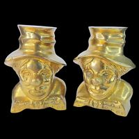 """Vintage Brass Clown Bookends 5""""T Set Of Two"""