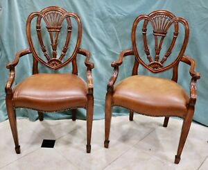 Theodore Alexander Hepplewhite Mahogany Dining Arm Chairs Late 20th Century - A