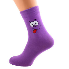 Purple Funny Face Design Novelty Socks in Mens, Womens and Kids Sizes X6N174