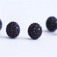 10mm Black Rhinestone Crystal Wholesale Clay Round Disco Shamballa Beads Jewelry