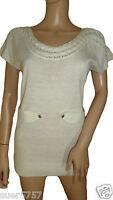 NEW F&F Ladies Cream Lightweight Jumper Short Sleeve Scoop Neck  Size 8 - 18