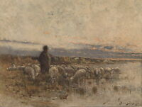 Beautiful Oil painting Male Shepherd with sheep in sunset canvas hand painted