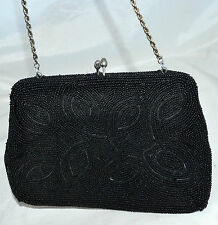 Vintage Black Beaded Abstract Design Evening Purse w/ Chain Strap Made In Japan