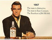 Sean Connery 007  Jim Beam Whiskey Ad  Refrigerator / Tool Box Magnet  Man Cave