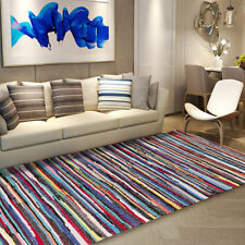 Recycled Fair Trade Rag Rug Hand Loomed Indian Bright Multi Colors Chindi Rugs