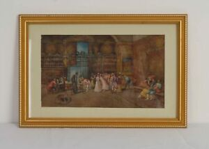 Framed Original Watercolour of a Spanish Marriage