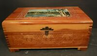 Vtg Wooden Storage Chest Jewelry/Trinket Box Picture On Lid Mirror Inside Lid