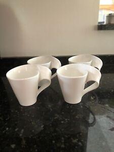 Villeroy & Boch 1748 White New Wave Coffee Cups (4) Mug 12 oz GERMANY Twisted
