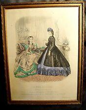 Gravure ancienne signée La Mode illustrée 1864 encadrée Imprimerie Leroy Paris