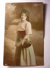 Antique Bulgarian Postcard Young Girl With Headscarf 1908