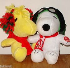 Peanuts Snoopy and Woodstock Musical Holiday Plush Set Nwt Plays Jingle Bells!