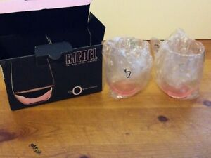Riedel Pink Tint Breast Cancer Edition O Wine Stemless Crystal Glasses NIB