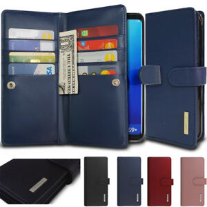 Simple Dual Flip Saffiano leather wallet Holder Case Cover f Galaxy S10 9/Note10