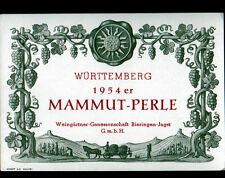 """ETIQUETTE ANCIENNE de VIN """"MAMMUT-PERLE"""" WURTTEMBERG en 1954"""