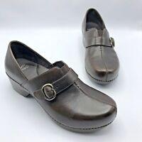 Dansko Tamara Women Brown Leather Clog Shoe Size 10.5 EUR 41 Pre Owned