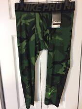 Nike Mens Pro Hypercool Woodland Camo Print 3/4 Tights 848863 $45 Military Green