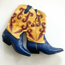 Nine West Women's 6.5 M Ronnee Vintage Cowboy Boots Leather Lizard