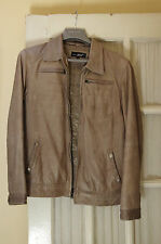 Black Rivet Grey Gray Leather Motorcycle Jacket Size Small