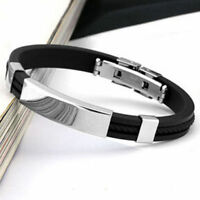 Mens Womens New Stainless Steel Rubber Wristband Bangle Clasp Cuff Bracelet