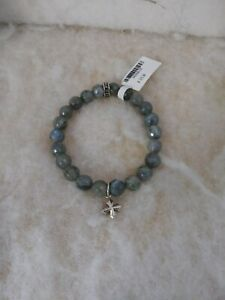 Beaded King Baby Studio Labradorite Men Bracelet with Cross Charm