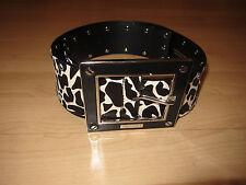 Karen Millen Zebra Giraffe Animal Pony skin fur belt leather large buckle M