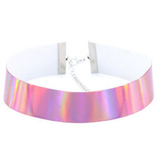 Fashion Jewelry Holographic Rainbow Choker Collar PU Necklace For Women Gift