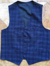Sottotono Italian Navy Blue Plaid Vest M
