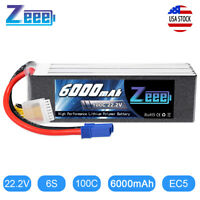 Zeee 6000mAh 6S 100C EC5 22.2V LiPo Battery for Heli Airplane Quad Car Truck