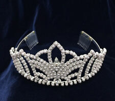 Pearl With Crystal Rhinestones Combs. Tiara. 3 inches Tall.