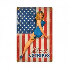 Stars and Stripes Vintaged Metal Sign - Hand Made in the USA with American Steel