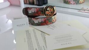 GUCCI Blooms floral belt Women's GG Gold Buckle KU2IG Size 85/34