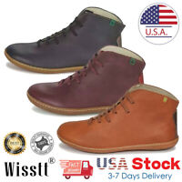 Women's Ankle Boots Leather Flat Heel Booties Ladies Lace Up Casual Shoes Size
