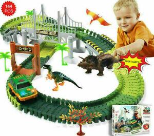 144 Stück Rennbahn Flex Tracks Dinosaurier Figuren set für Kinder Spielzeug