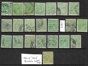 Stamps Australia Bulk 1/2d Green KGV Heads x 22 Good/Fine Used