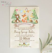 CUTE WOODLAND ANIMALS PERSONALISED CHRISTENING INVITES - Pack of 8 -Son Daughter