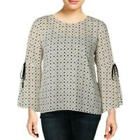 CeCe Womens Ivory Polka Dot Bell Sleeves Party Blouse Top S BHFO 0052