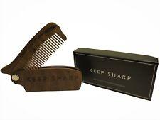 Plegable Barba/Bigote Peine De Madera-seguir Sharp-Sándalo Barba Peine