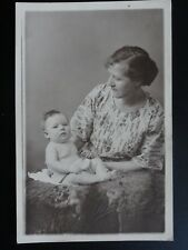 Studio Portrait: Mother and Baby - Old RP Postcard