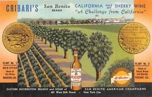 MADRONE, CA, HOUSE OF CRIBARI'S SHERRY WINE LINEN ADV PC, CURT TEICH PUB 1930s
