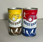 2 Can Lot - 1979 AF BASEBRAU Appleton Foxes Beer Can Yellow & Brown, Blue & Red