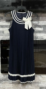 Bonnie Jean Pleated Navy Dress Size 16