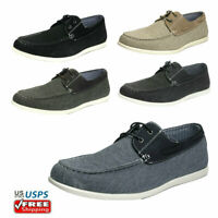 Men's Slip on Loafers Lace Up Casual Shoes Driving Canvas Boat Shoes