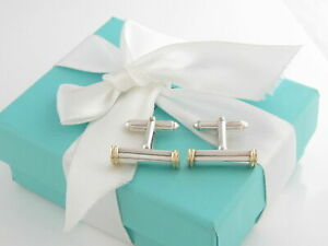 Authentic silver 18k yellow gold TIFFANY & CO BAR COLUMN TWO TONE cufflinks