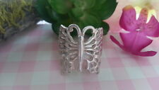 Big Filigree Butterfly Heavy Ring 925 Sterling Silver* Size 7 Adjustable *C153